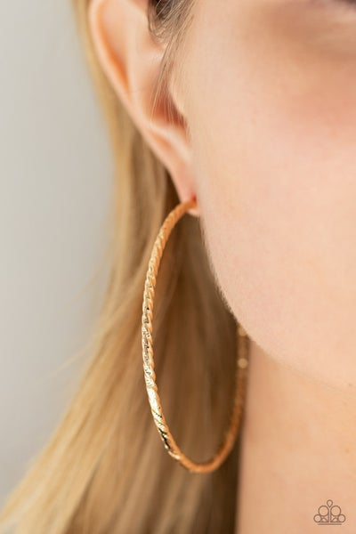 Voluptuous Volume - Gold etched Hoop Earrings