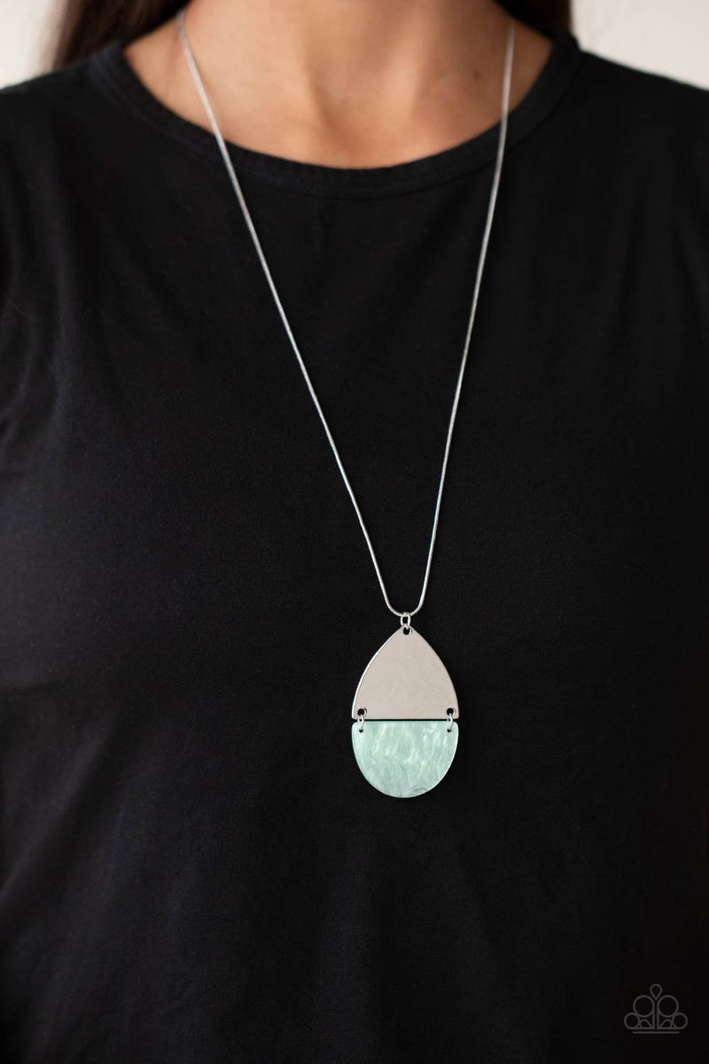 Rainbow Shores - Blue Shell-like half moon with Silver top Necklace & Earrings