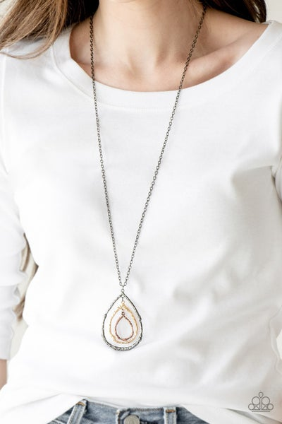 Pre-Sale Going For Grit - Gunmetal with Multi-Gunmetal, Gold & Copper Pendant, Necklace & Earrings