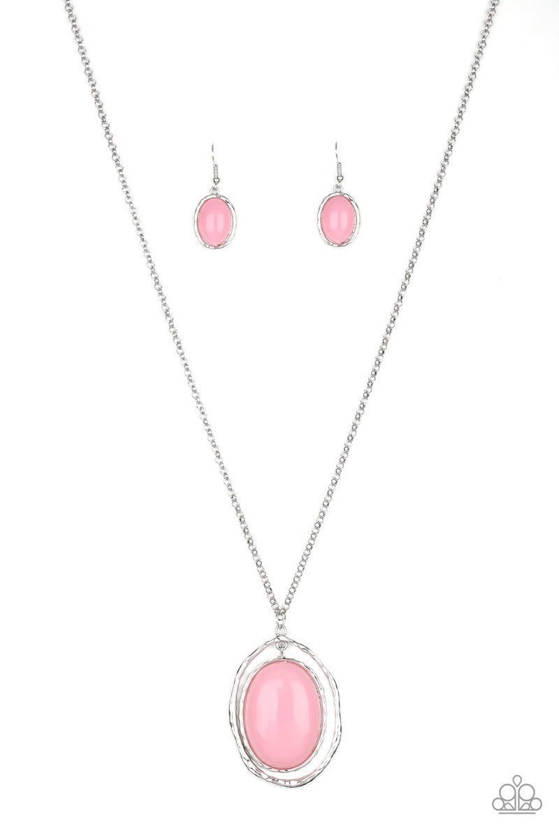 Harbor Harmony - Silver with a large Oval Pink Moonstone Necklace