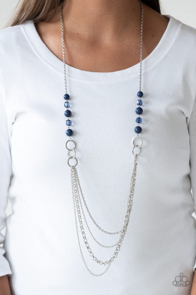 Vividly Vivid - Silver layers with Blue beads Necklace & Earrings
