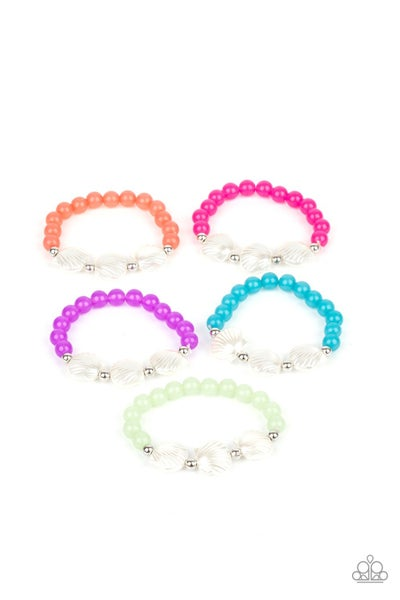 Assorted Color Beads with pearly shells Stretch Bracelet for Kids or the Kid at Heart