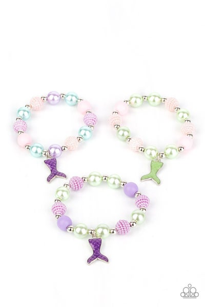 Assorted color Beaded Bracelets with Mermaid Tail Charm for Kids or the Kid at Heart