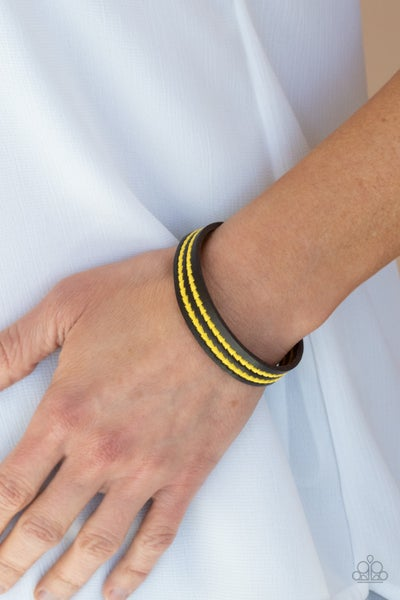 Show The Way - Leather with 2 rows of Yellow Stitched triangles Snap Bracelet
