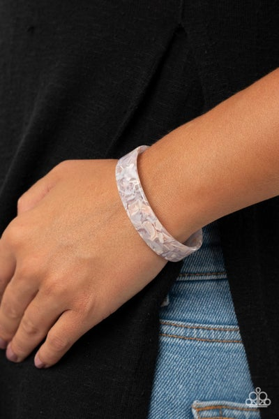Its Getting HAUTE In Here - Pink & White Acrylic Cuff Bracelet