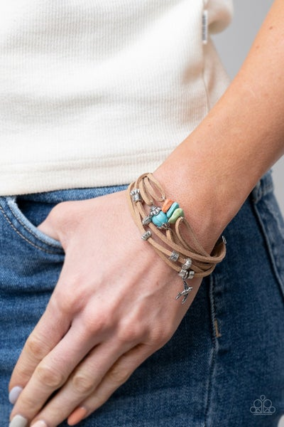 Canyon Flight - Multicolor Stones & Silver accents on Leather Strands Clasp Bracelet