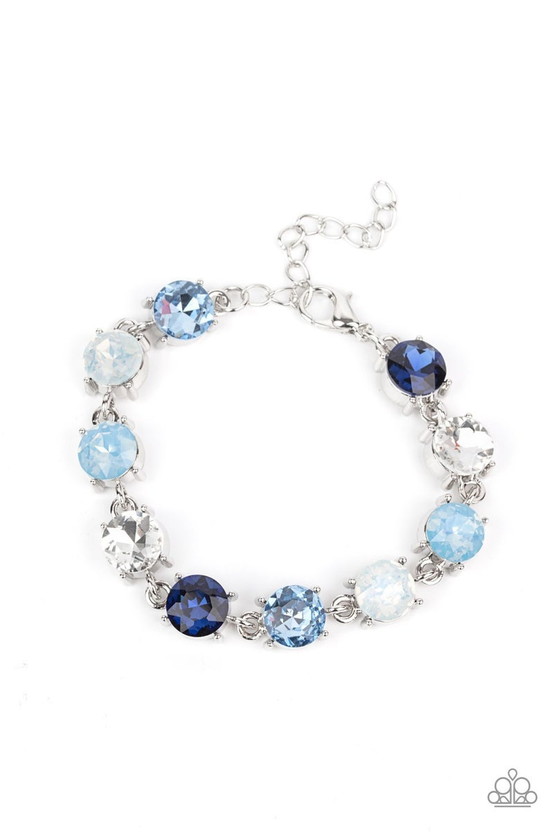 Pre-Sale Celestial Couture - Silver with shades of Blue opalescent & White Rhinestones Bracelet