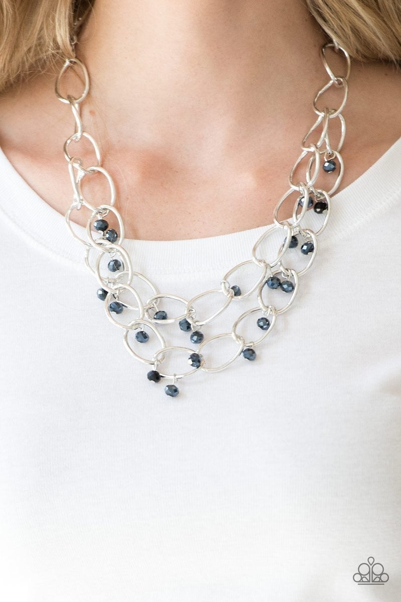 Yacht Tour - Blue Iridescent Crystals in layered links Necklace & Earrings