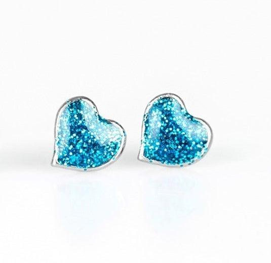 Glittery Heart Post Back Earrings