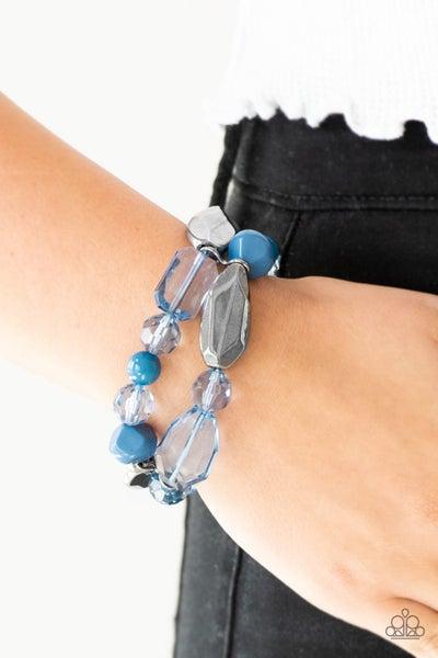Rockin Rock Candy - Blue Gunmetal & Crystal-like Beads Bracelets