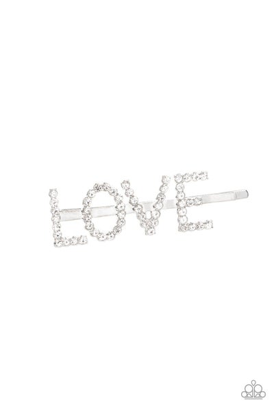 """All You Need Is Love - Silver with White Rhinestones spelling """"Love"""" - Hair Clip/Bobby Pin"""
