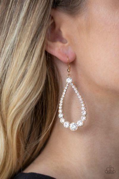 Token Twinkle – Gold Teardrop frames with Rhinestones Earrings