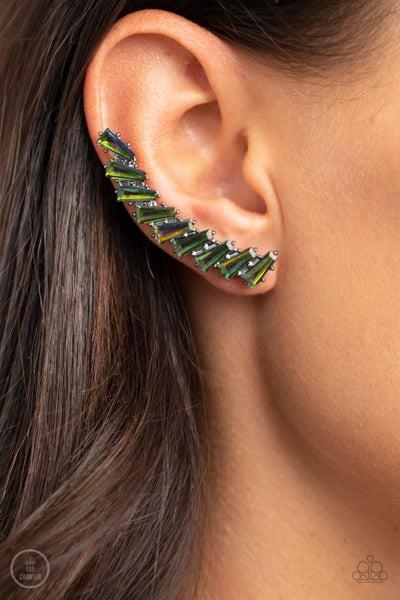 I Think ICE Can - Multi Oil Spill Ear Climber Earrings