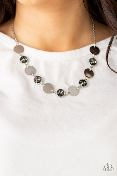 Pre-Order Refined Reflections - Silver Rhinestones & Shiny Silver Circles Necklace & Earrings
