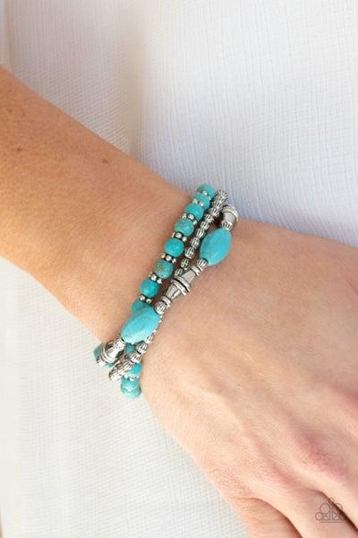 Pre-Order Sahara Sanctuary - 3 Silver & Turquoise Stretch Bracelets