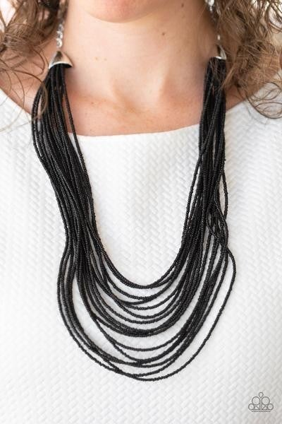 Peacefully Pacific - Black Paparazzi Seed Bead Necklace