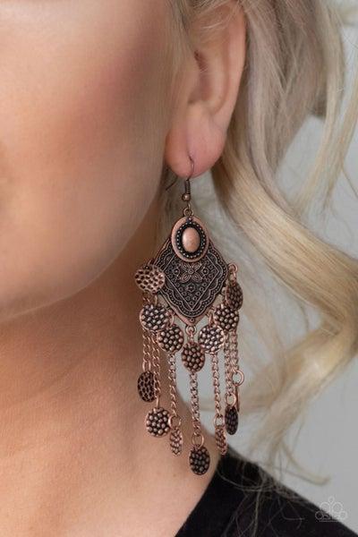 Garden Explorer - Copper Swinging Discs Earrings