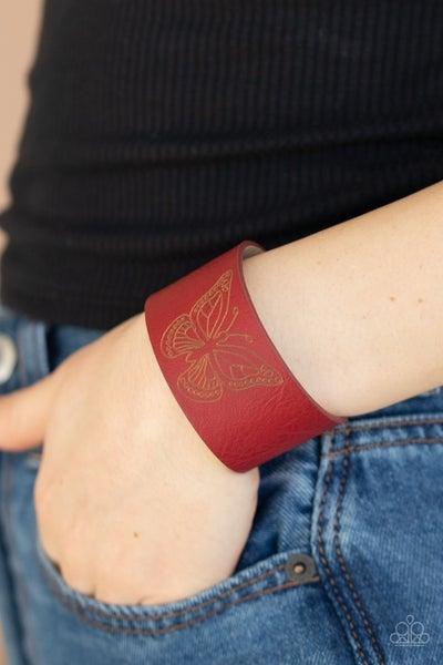 Flirty Flutter - Red Leather with Butterfly Bracelet
