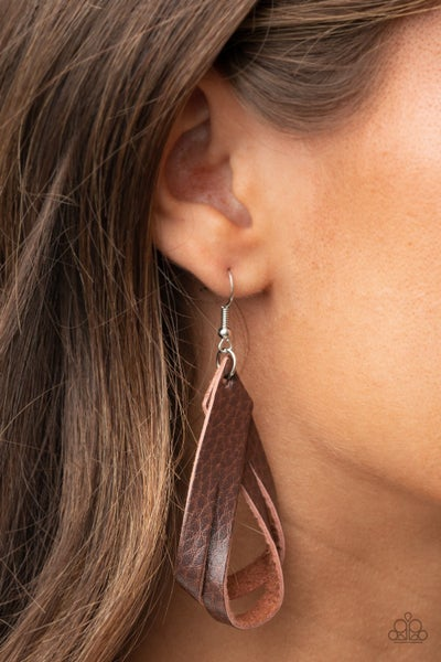 Thats A STRAP - Brown Leather Hoops Earrings