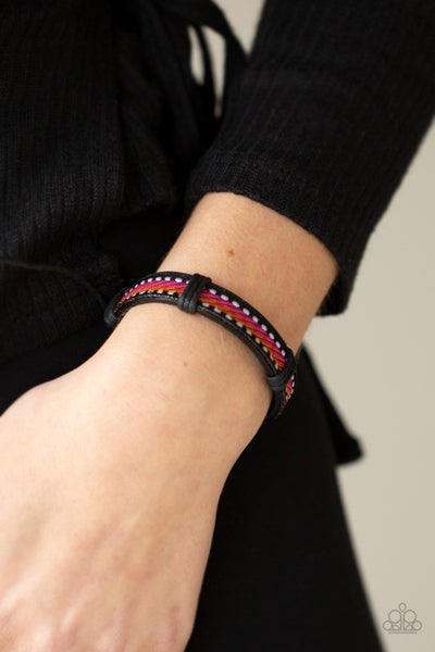 Pre-Sale Forging a Trail - Brown with Orange & Pink Thread on a Leather pull tight/slip knot Bracelet