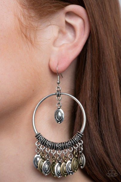 Pre-Sale Metallic Harmony - Silver with Multi -Silver & Brass Fringe Earrings