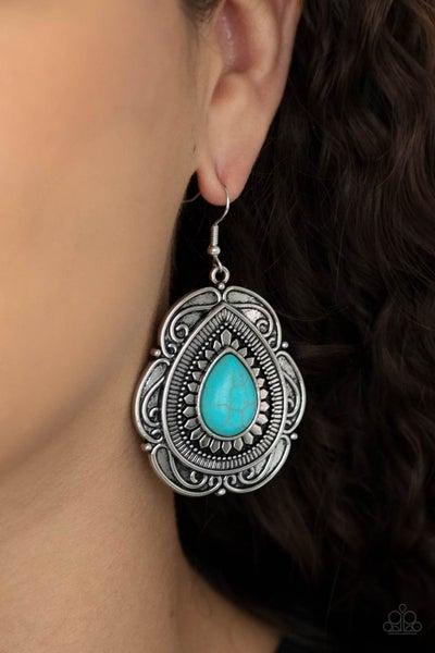 Southwestern Soul - Silver ornate frame around a Teardrop Turquoise Earrings