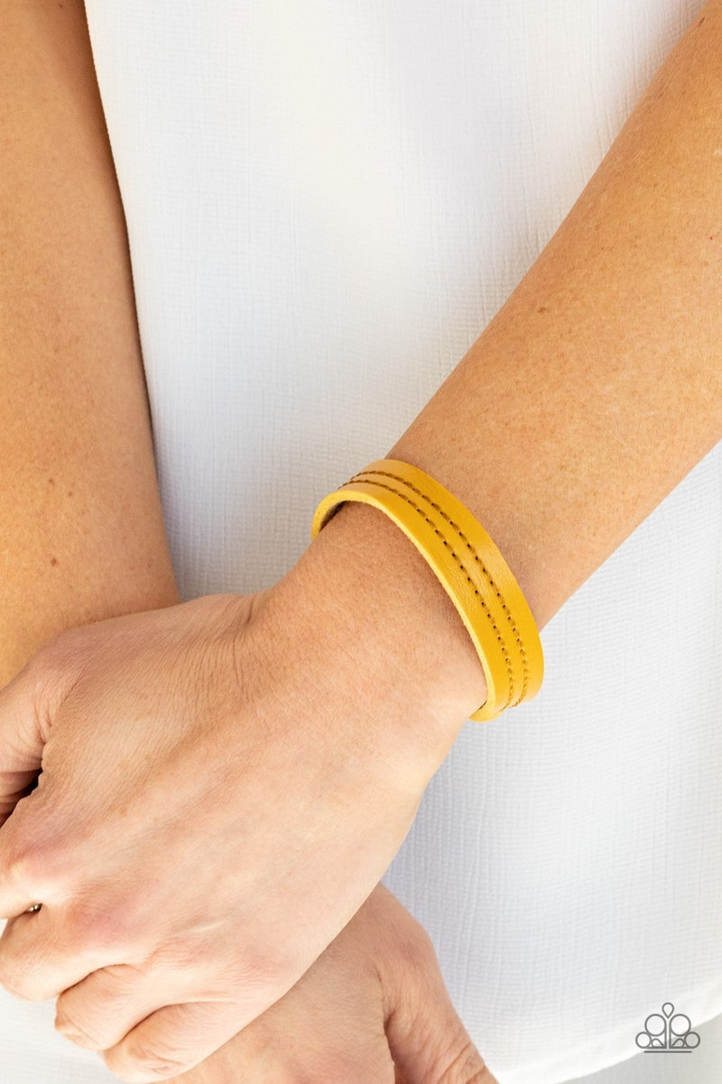 Life is WANDER-ful - Yellow Leather with stitching Snap Bracelet