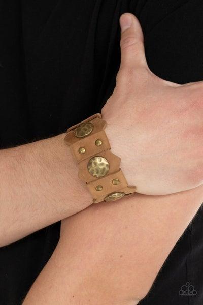 Pre-Sale Electrified Edge - Brown Leather with antiqued brass discs Snap Bracelet