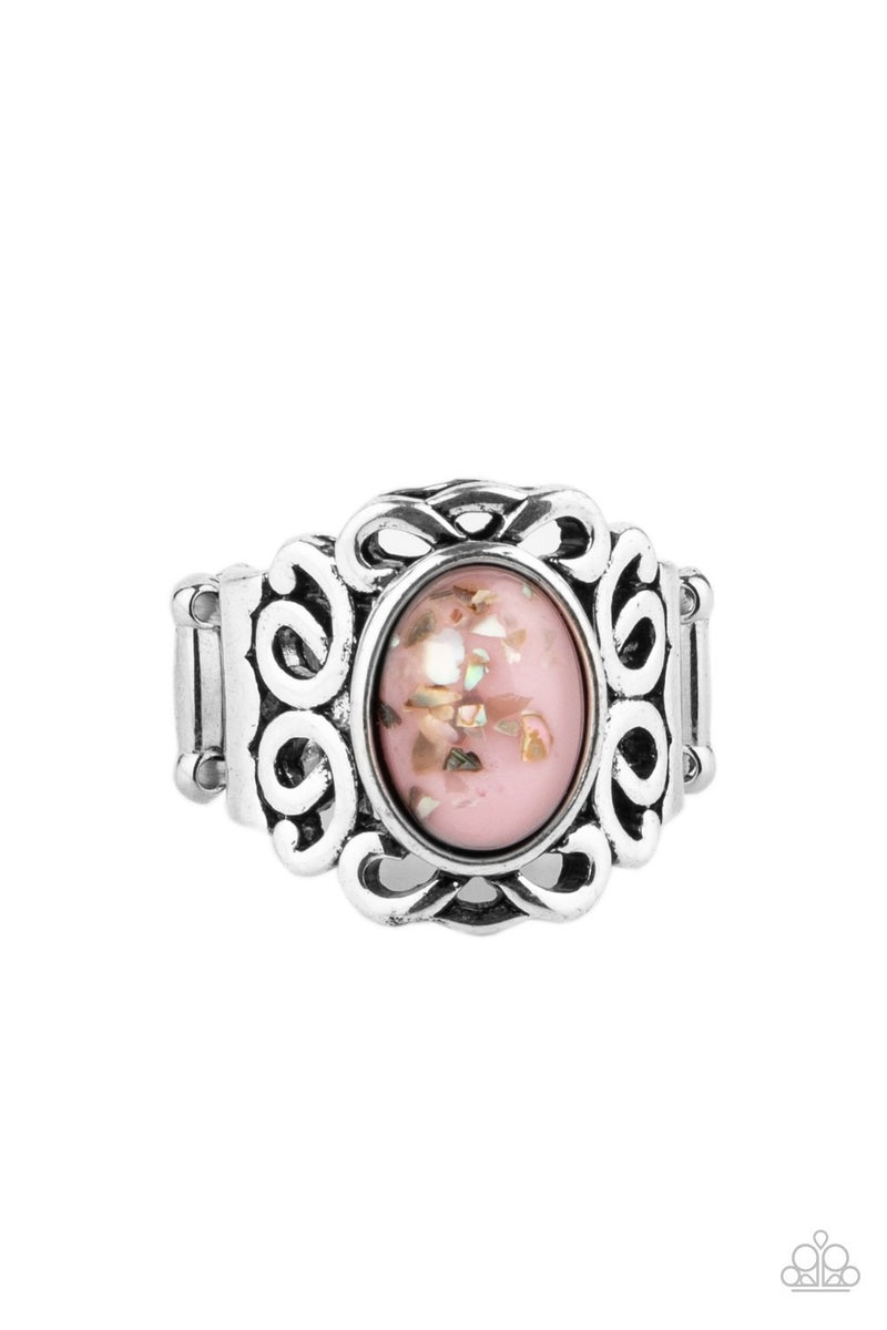 Straight To The POP! - Silver with Pink Confetti Bead Ring