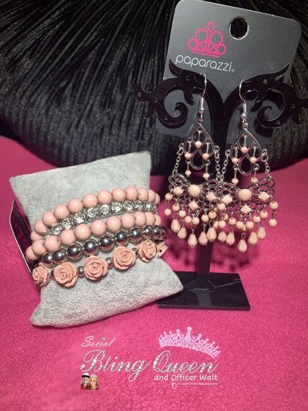 Glass Slipper Glamour with Rose Garden Grandeur - Dusty Rose Beaded Earrings & Bracelet Set
