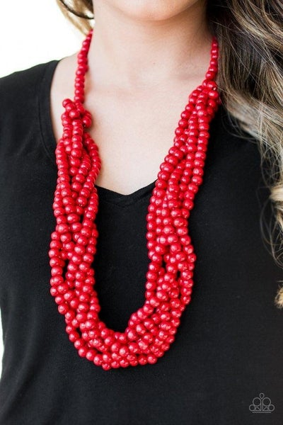 Tahiti Tropic - Red Wooden Bead Necklace & Earrings