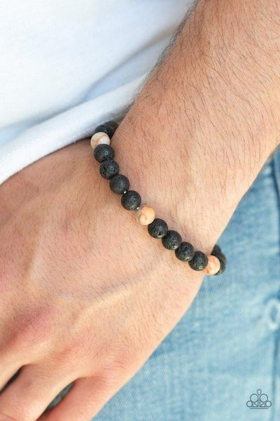 Enlivened - Black Lava Stone Beads with Orange Marbleized Beaded Bracelet