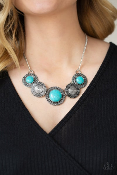 Canyon Cottage - Silver with Turquoise & Silver Bead Necklace & Earrings