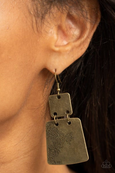 Pre-Order Tagging Along - Brass abstract stamped Plates Earrings