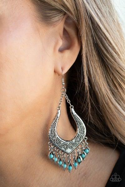 Pre-Sale Sahara Fiesta - Silver with Turquoise Fringe Earrings