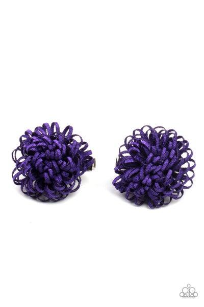Pretty in Posy - Purple Bow Hair Clips