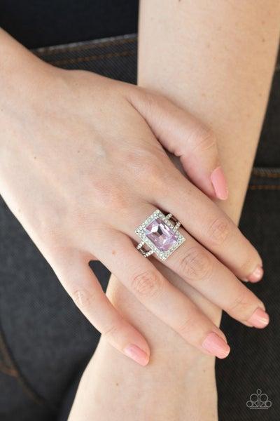 Utmost Prestige - Silver with an Emerald Cut Purple Rhinestone Ring