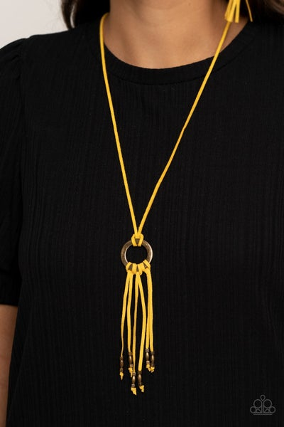 Pre-Sale Feel at HOMESPUN - Yellow Suede with Tassels Necklace & Earrings