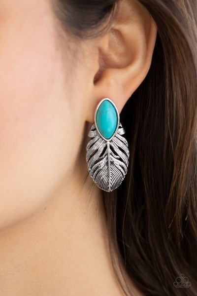 Rural Roadrunner - Silver Feather topped with a marquis-cut Turquoise stone Earrings