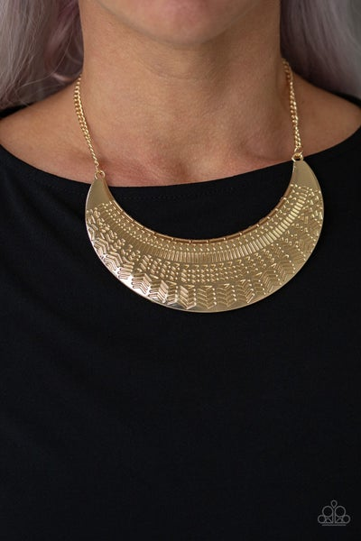 Large As Life - Gold half moon plate Necklace & Earrings