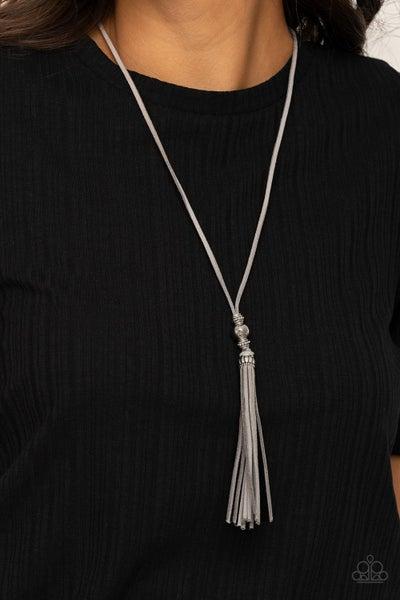 Hold My Tassel - Silver Suede Tassel Necklace & Earrings