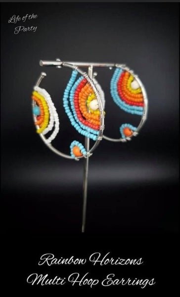 Pre-Order Rainbow Horizons - Multicolored Seed Bead Hoop Earrings - July 2020 Life of the Party Exclusive