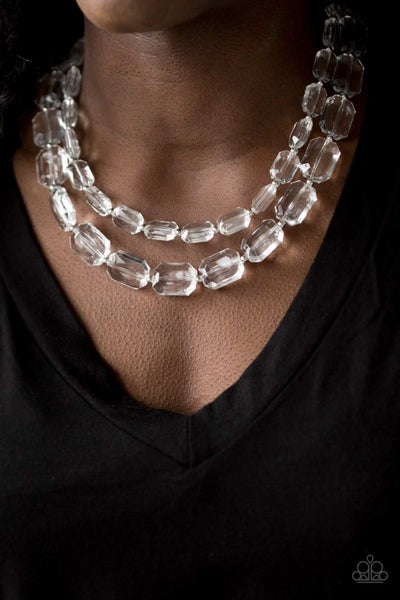 Ice Bank - Silver with Layers of White Acrylic Beads Necklace & Earrings