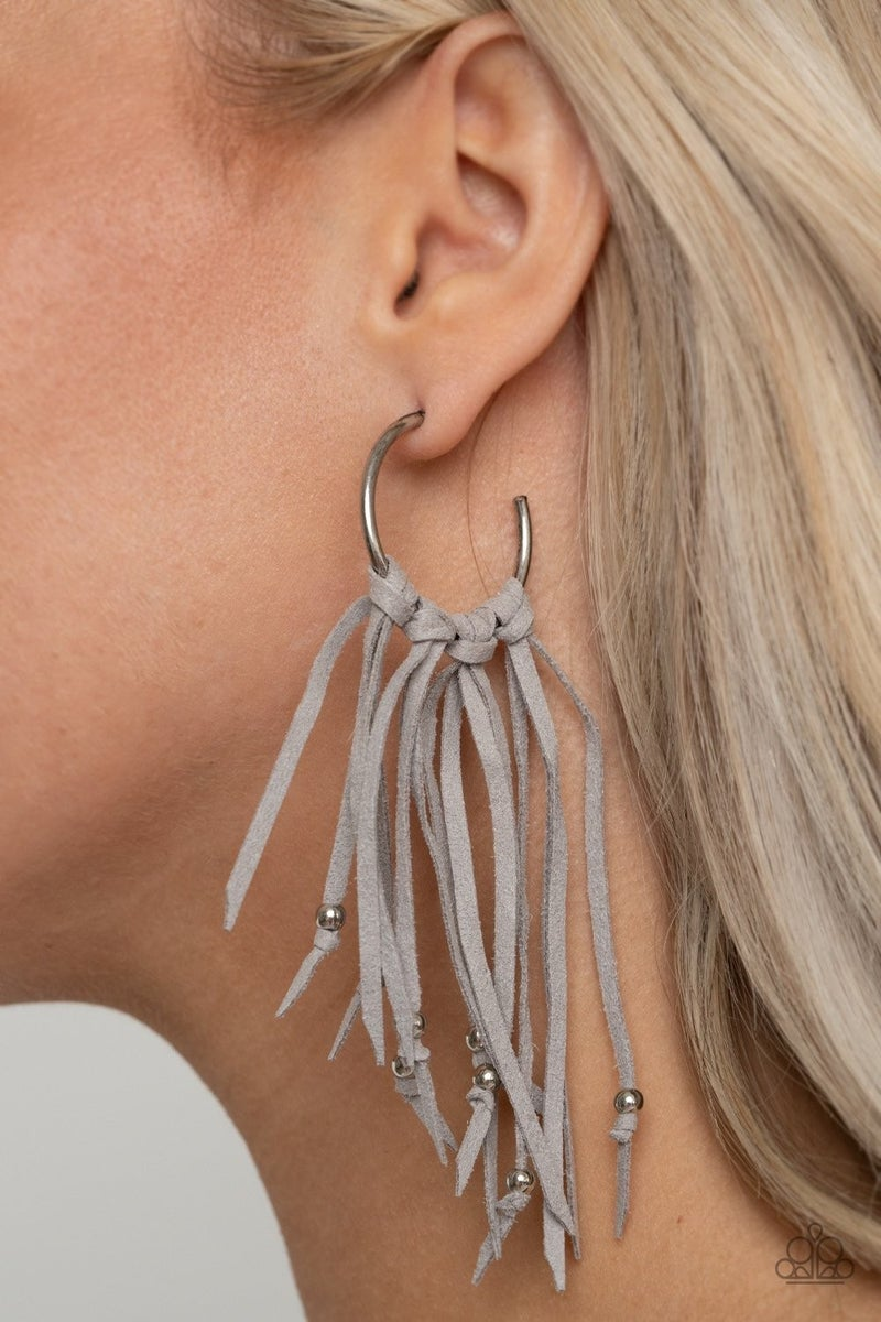 No Place Like HOMESPUN - Silver with Grey Suede Knot Fringe Earrings