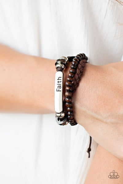"""Let Faith Be Your Guide - Brown Leather with Silver """"Faith"""" Engraved Plate Pull-Tight Bracelet"""
