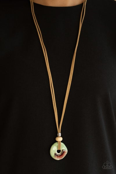 Pre-Sale Primal Paradise - Leather with Green Ceramic Disc Necklace & Earrings