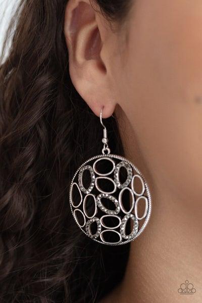 Pre-Sale Watch OVAL Me - Silver with delicately set hematite rhinestones Earrings