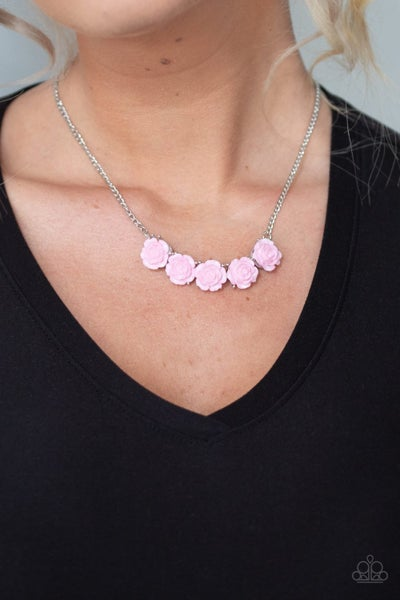 Garden Party Posh - Pink Acrylic Roses Necklace & Earrings