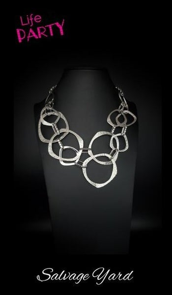Salvage Yard ~Silver Asymmetrical Rings Necklace - Life of the Party Exclusive