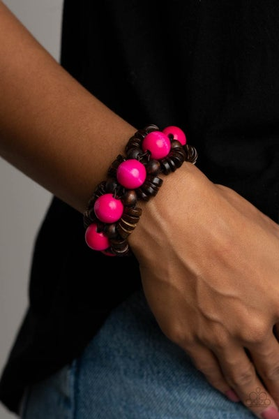 Pre-Sale Tropical Temptations - Brown Wood with Pink Wood Stretch Bracelet